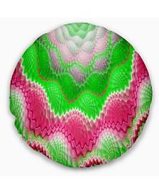 "Designart Snake Skin Exotic Flower Abstract Throw Pillow - 20"" Round"