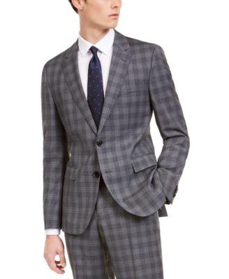 Men's Slim-Fit Dark Gray Plaid Wool Suit Separate Jacket