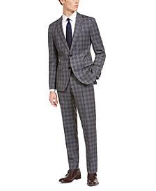 HUGO Men's Slim-Fit Dark Gray Plaid Wool Suit Separates