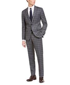 Hugo by Hugo Boss Men's Slim-Fit Dark Gray Plaid Wool Suit Separates