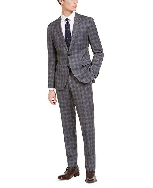Hugo Boss Men's Slim-Fit Dark Gray Plaid Wool Suit Separates
