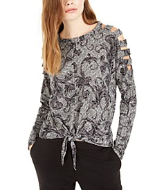 Juniors' Printed Tie-Front Cold-Shoulder Top