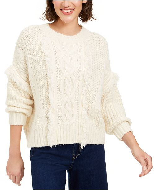 Sage The Label Fringe Cable-Knit Sweater