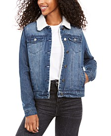 Juniors' Sherpa-Lined Denim Jacket
