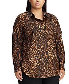 Lauren Ralph Lauren Plus Size Print Crepe Shirt