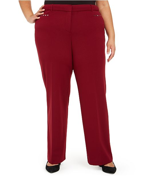 JM Collection Plus Size Curvy Tummy Control Pants, Created For Macy's