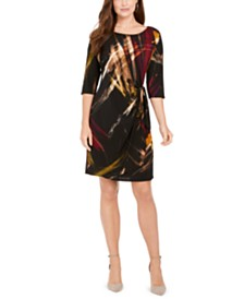 Robbie Bee Petite Printed Faux-Wrap Dress