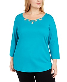 Plus Size Cotton Rhinestone Keyhole Sweater, Created For Macy's