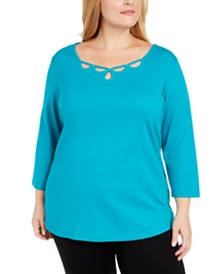 Karen Scott Plus Size Cotton Rhinestone Keyhole Sweater, Created For Macy's