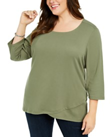 Karen Scott Plus Size Tulip-Hem Top, Created For Macy's