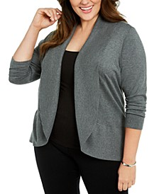 Plus Size Open-Front Cardigan Sweater, Created For Macy's