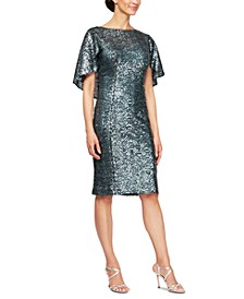 Sequin Capelet Sheath Dress
