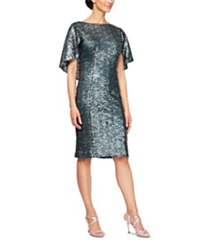 Alex Evenings Sequin Capelet Sheath Dress