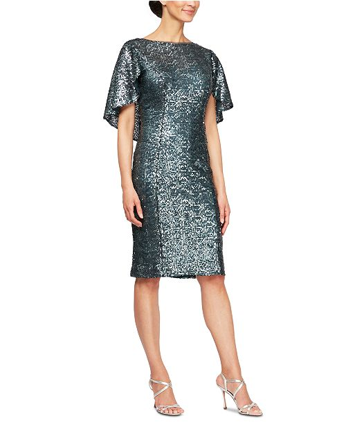 Alex Evenings Sequin Capelet Sheath Dress