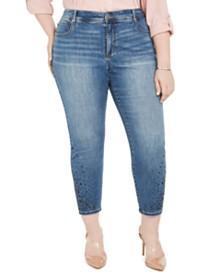 I.N.C. Plus Size Rhinestone Ankle Skinny Jeans, Created For Macy's