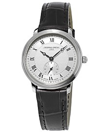 Frederique Constant Women's Swiss Slimline Small Seconds Black Leather Strap Watch 29mm