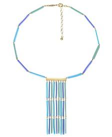 Gold-Tone Colored Fringe Tassel Necklace