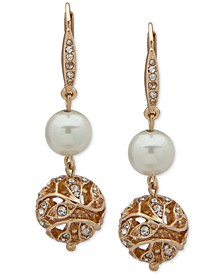 Gold-Tone Pavé Filigree & Imitation Pearl Double Drop Earrings