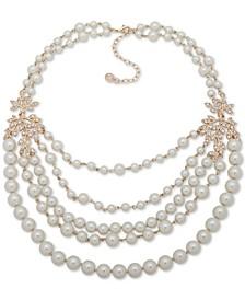 """Gold-Tone Pavé Vine & Imitation Pearl Statement Necklace, 17"""" + 3"""" extender"""