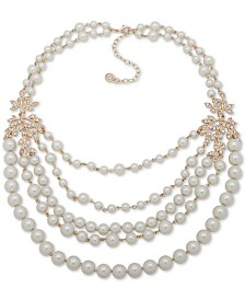 "Anne Klein Gold-Tone Pavé Vine & Imitation Pearl Statement Necklace, 17"" + 3"" extender"