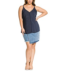 Trendy Plus Size Double Stripe Camisole