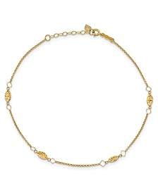 Rice Puff Bead Anklet in 14k Yellow Gold