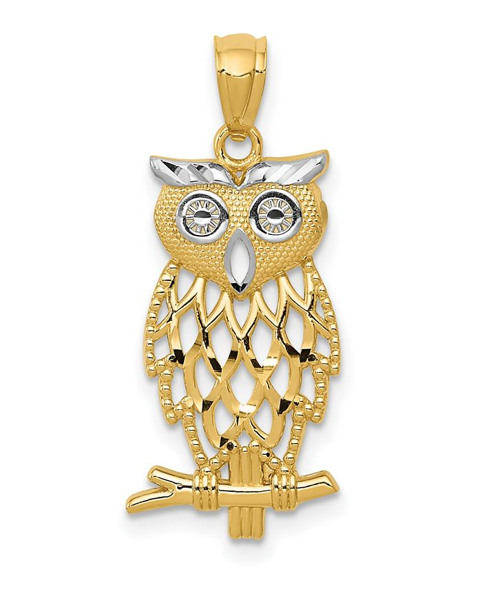 Macy's - Owl Pendant in 14k Yellow Gold and Rhodium