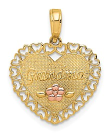 Grandma Heart Charm in 14k Yellow and Rose Gold