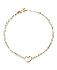 Double Strand Heart Anklet With 1-inch Extension in 14k Gold