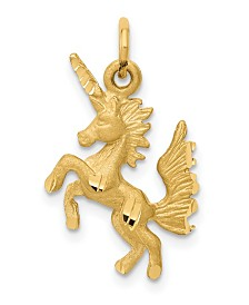 Dancing Unicorn Charm in 14k Yellow Gold