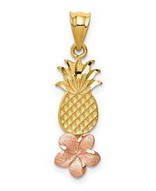 Pineapple With Plumeria Pendant in 14k Yellow and Rose Gold