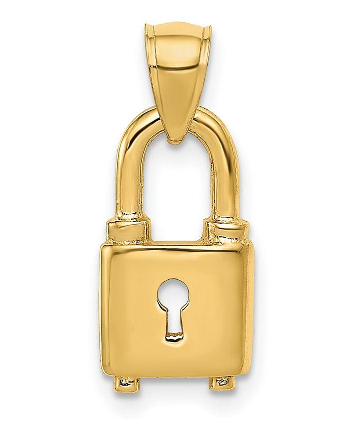 Macy's - Lock Pendant in 14k Yellow Gold
