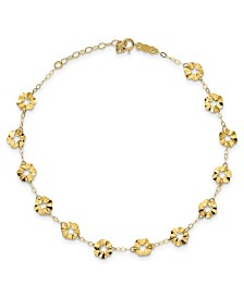 "Flower Anklet With 1"" extender in 14k Yellow Gold"