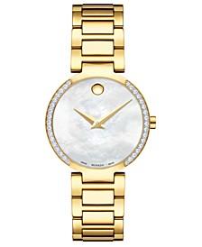 Women's Swiss Modern Classic Diamond (1/4 ct. t.w.) Gold PVD Stainless Steel Bracelet Watch 28mm