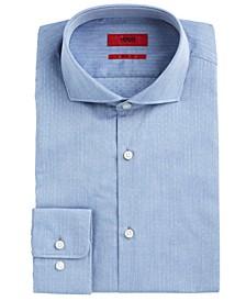 HUGO Men's Slim-Fit Navy Dobby Dress Shirt