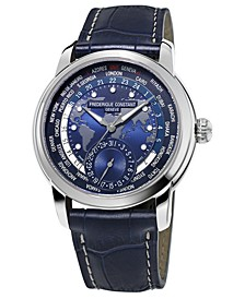 Men's Swiss Automatic Classic Worldtimer Manufacture Blue Leather Strap Watch 42mm