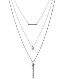 "Silver-Tone Bar, Pavé Disc & Chain Tassel Removable-Layer Pendant Necklace, 18"" + 2"" extender"