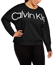 Calvin Klein Performance Plus Size Dolman-Sleeve Logo Sweatshirt