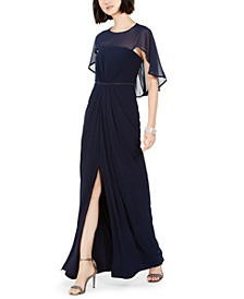 Ruched-Cape Gown
