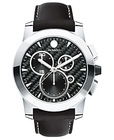 Men's Swiss Chronograph Vizio Black Leather Strap Watch 45mm