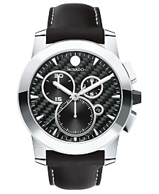 Movado Men's Swiss Chronograph Vizio Black Leather Strap Watch 45mm