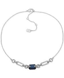 """Lauren Ralph Lauren Silver-Tone Link & Stone Collar Necklace, 16"""" + 3"""" extender"""