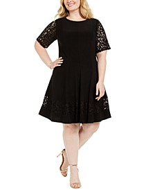 Plus Size Lace-Sleeve Fit & Flare Dress