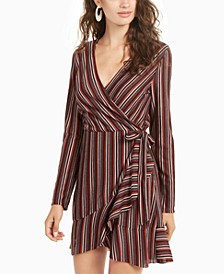 Juniors' Striped Wrap Dress