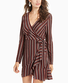 Crystal Doll Juniors' Striped Wrap Dress