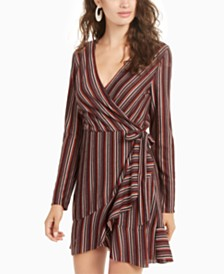 Crystal Doll Juniors' Striped Wrap Dress