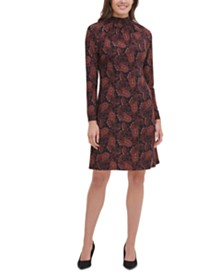 Tommy Hilfiger Paisley Mock-Neck Dress