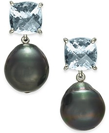 Cultured Tahitian Pearl (12mm) & Aquamarine (5 ct. t.w.) Drop Earrings in Sterling Silver