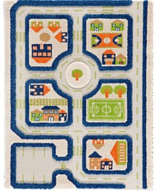 """Traffic 3D Childrens Play Mat & Rug in A Colorful Town Design with Soccer Field, Car Park&Roads - 45""""L x 32""""W"""