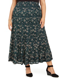 Style & Co Plus Size Printed Maxi Skirt, Created For Macy's